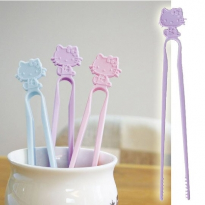 小禮堂 Hello Kitty 日製 不沾手零食夾 塑膠 食物夾 餅乾夾 夾子 (紫)