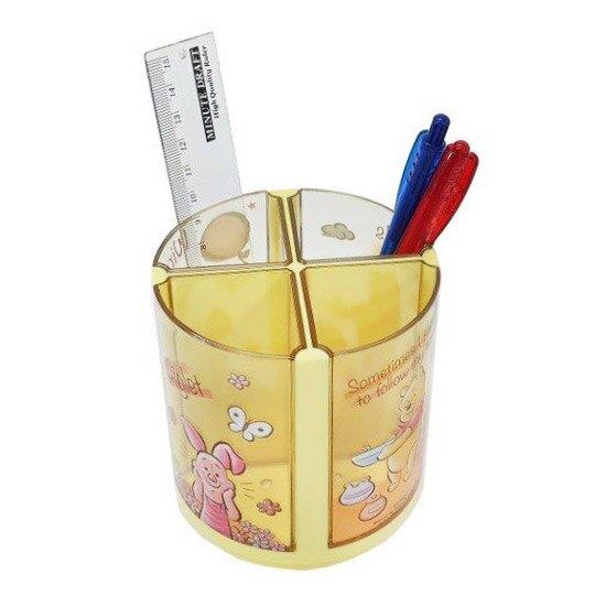 小禮堂 迪士尼 小熊維尼 旋轉筆筒 圓形塑膠 收納筒 刷具筒 置物筒 可拆式 (黃 摸臉)