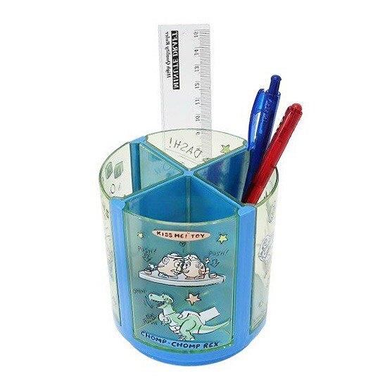 小禮堂 迪士尼 三眼怪 旋轉筆筒 圓形塑膠 收納筒 刷具筒 置物筒 可拆式 (綠 三隻)