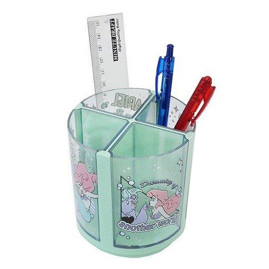 小禮堂 迪士尼 小美人魚 旋轉筆筒 圓形塑膠 收納筒 刷具筒 置物筒 可拆式 (綠 坐石頭)