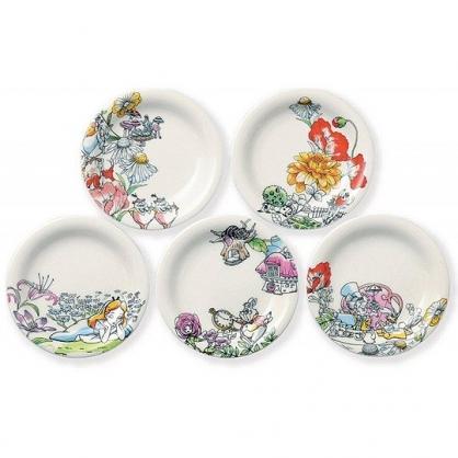 小禮堂 迪士尼 愛麗絲 日製 迷你 陶瓷盤 圓盤 小菜盤 醬料碟 小皿 (5入 白 花朵)