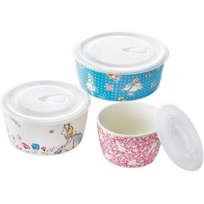 小禮堂 迪士尼 愛麗絲 日製 保鮮碗 陶瓷碗 保鮮罐 保鮮盒 沙拉碗 附蓋 (3入 粉藍 花朵)