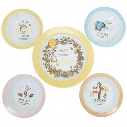 小禮堂 迪士尼 小熊維尼 日製 陶瓷盤 圓盤 菜盤 淺盤 沙拉盤 點心盤 (5入 藍黃 汽球)