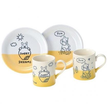 小禮堂 迪士尼 小熊維尼 日製 杯盤組  陶瓷杯盤 咖啡杯盤 茶杯 點心盤 (4入 黃白 蜂蜜)