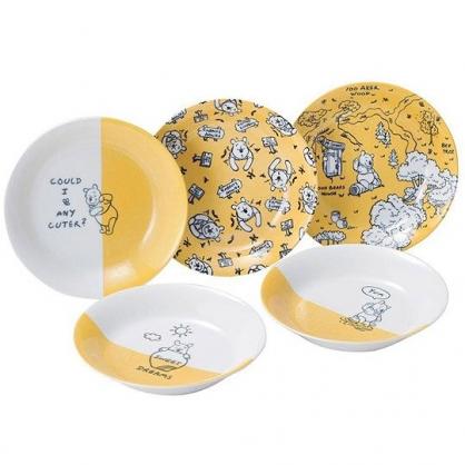 小禮堂 迪士尼 小熊維尼 日製 陶瓷盤 圓盤 菜盤 深盤 沙拉盤 點心盤 (5入 黃白 蜂蜜)