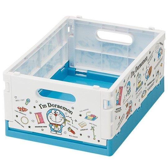 小禮堂 哆啦A夢 塑膠折疊無蓋收納籃 CD收納盒 置物籃 儲物籃 可堆疊 (M 藍 道具)