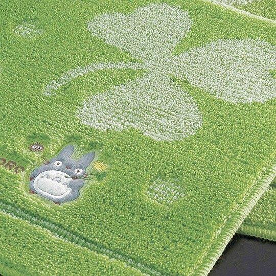 小禮堂 宮崎駿 龍貓 腳踏墊 絨毛 地墊 浴墊 吸水踏墊 45x60cm (綠 幸運草)