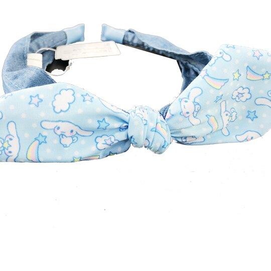 小禮堂 大耳狗 兒童髮箍 牛仔布 髮飾 髮帶 頭飾 首飾 兒童髮飾 蝴蝶結造型 (藍)