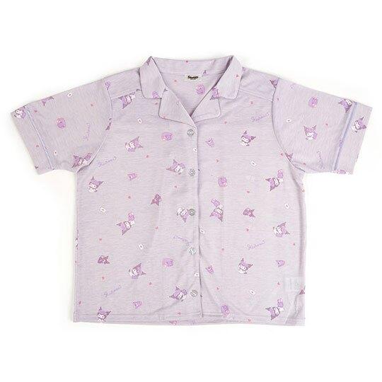 小禮堂 酷洛米 睡衣睡褲 睡衣套裝 短袖短褲 居家服 休閒服 襯衫式 (紫 滿版)