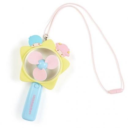 小禮堂 雙子星 手持電風扇 隨身風扇 手握扇 攜帶風扇 電池式 附頸掛繩 (藍黃 星星)