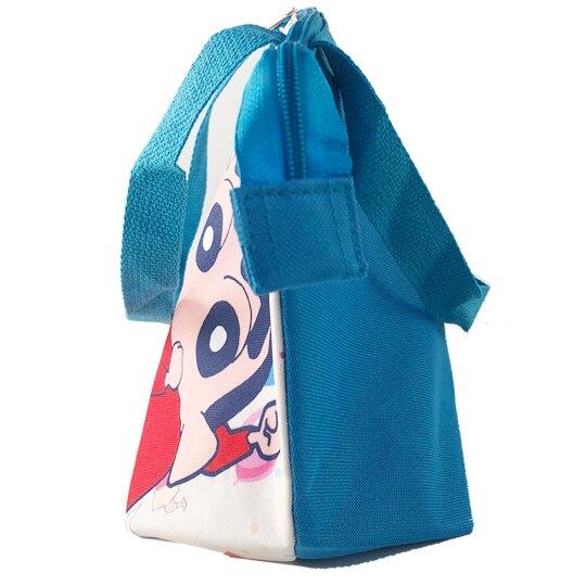 小禮堂 蠟筆小新 便當袋 尼龍 側背袋 保冷袋 野餐袋 (米藍 小白)