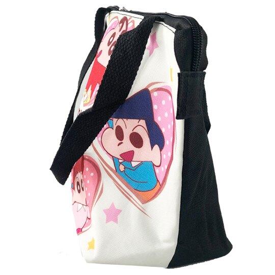 小禮堂 蠟筆小新 便當袋 尼龍 側背袋 保冷袋 野餐袋 (米黑 愛心)