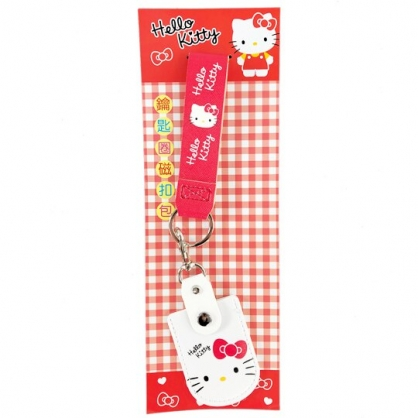 小禮堂 Hello Kitty 鑰匙包 皮質 收納包 零錢包 遙控器包 鑰匙圈 掛飾 附腕繩 (紅 大臉)