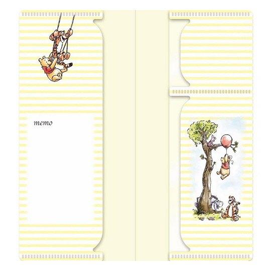 小禮堂 迪士尼 小熊維尼 日製 票據夾 雙開式文件夾 資料夾 口罩夾 護照夾 收納夾 (黃 橫紋)