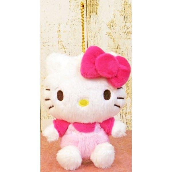 小禮堂 Hello Kitty 玩偶吊飾 絨毛 娃娃 吊飾 掛飾 鑰匙圈 (桃白 坐姿)