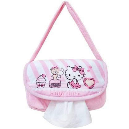 小禮堂 Hello Kitty 吊掛面紙套 絨毛 掀蓋 面紙盒 紙巾套 紙巾袋 (粉 糖果)