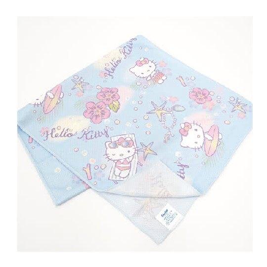 小禮堂 Hello Kitty 涼感毛巾 運動毛巾 長巾 擦汗巾 冰巾 冷敷巾 30x100cm (藍 草裙)