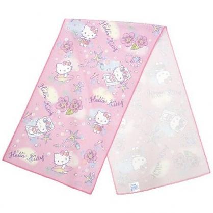 小禮堂 Hello Kitty 涼感毛巾 運動毛巾 長巾 擦汗巾 冰巾 冷敷巾 30x100cm (粉 草裙)