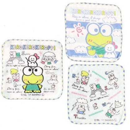 小禮堂 大眼蛙 方巾 手帕 小毛巾 純棉 割絨 16x16cm (綠白 點點)