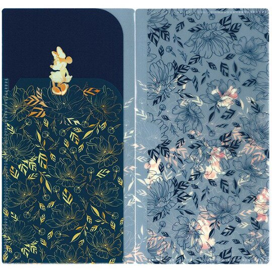 小禮堂 迪士尼 米妮 日製 口罩夾 收納夾 口罩套 口罩收納 抗菌加工 (藍黃 花朵)