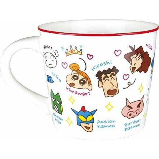 小禮堂 蠟筆小新 馬克杯 陶瓷杯 寬口杯 咖啡杯 茶杯 (白紅 介紹)
