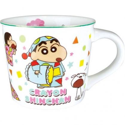 小禮堂 蠟筆小新 馬克杯 陶瓷杯 寬口杯 咖啡杯 茶杯 (白綠 睡衣)