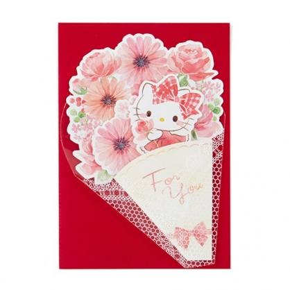 小禮堂 Hello Kitty 萬用卡片 祝賀卡 送禮卡 感恩卡 節慶卡 花束造型 (紅白)