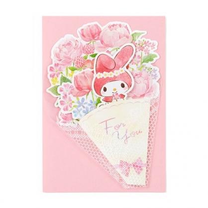 小禮堂 美樂蒂 萬用卡片 祝賀卡 送禮卡 感恩卡 節慶卡 花束造型 (粉白)