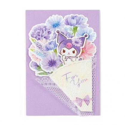 小禮堂 酷洛米 萬用卡片 祝賀卡 送禮卡 感恩卡 節慶卡 花束造型 (紫白)