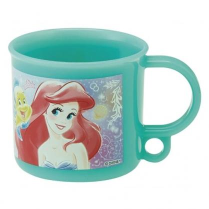 小禮堂 迪士尼 小美人魚 日製 塑膠杯 單耳 兒童水杯 茶杯 漱口杯 200ml (綠 半身)