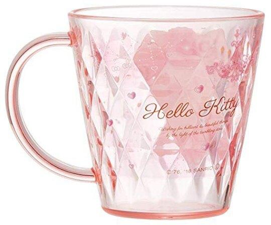 小禮堂 Hello Kitty 日製 塑膠杯 單耳 兒童水杯 壓克力杯 茶杯 漱口杯 220ml (粉 蛋糕)