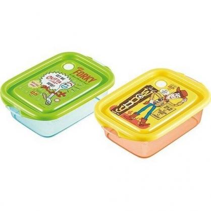 小禮堂 迪士尼 玩具總動員4 日製 透明保鮮盒 方形 便當盒 食物盒 餐盒 500ml (2入 黃綠 站姿)