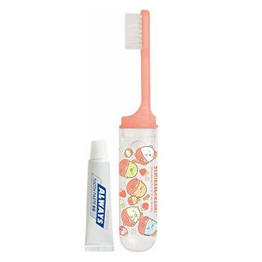 小禮堂 角落生物 日製 旅行牙刷組 折疊牙刷 漱口杯 牙膏 盥洗用品 (紅白 草莓)