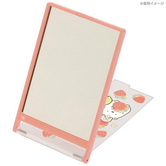 小禮堂 角落生物 日製 隨身鏡 方形 桌鏡 化妝鏡 折鏡 立鏡 鏡子 (紅 草莓)