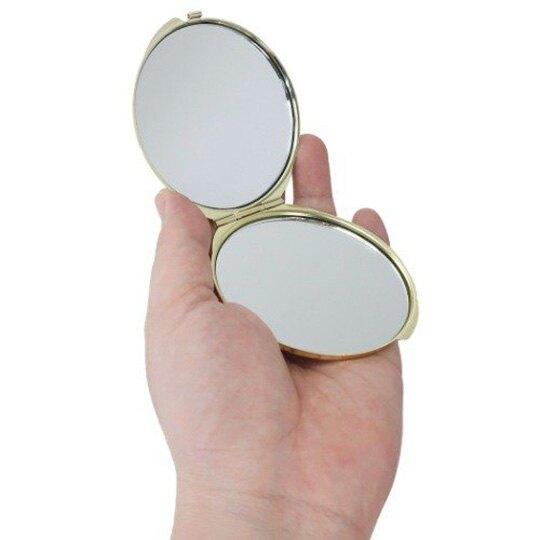 小禮堂 史努比 日製 隨身鏡 圓形 雙面鏡 放大鏡 化妝鏡 折鏡 立鏡 鏡子 (粉金 花朵)