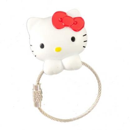 小禮堂 Hello Kitty 磁吸式鑰匙圈 吊飾 掛飾 吸鐵 鑰匙收納 (紅白 大臉)