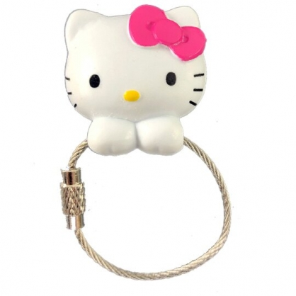 小禮堂 Hello Kitty 磁吸式鑰匙圈 吊飾 掛飾 吸鐵 鑰匙收納 (粉白 大臉)