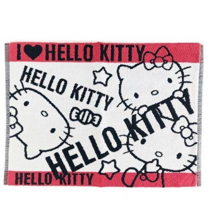小禮堂 Hello Kitty 毛巾腳踏墊 浴墊 地墊 踏墊 吸水腳踏墊 45x60cm (黑白 文字)