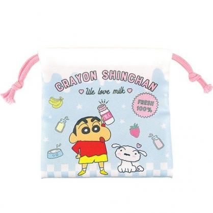 小禮堂 蠟筆小新 迷你 束口袋 棉質 收納袋 縮口袋 小物袋 (藍粉 牛奶)