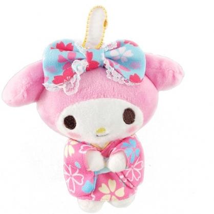 小禮堂 美樂蒂 絨毛吊飾 娃娃 布偶 玩具 吊飾 掛飾 鑰使圈 鎖圈 (粉 和服)