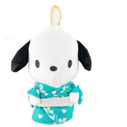 小禮堂 帕恰狗 絨毛吊飾 娃娃 布偶 玩具 吊飾 掛飾 鑰使圈 鎖圈 (綠 和服)