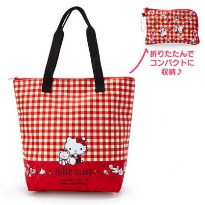 小禮堂 Hello Kitty 折疊環保購物袋 尼龍 保冷袋 野餐袋 手提袋 (紅 格紋)
