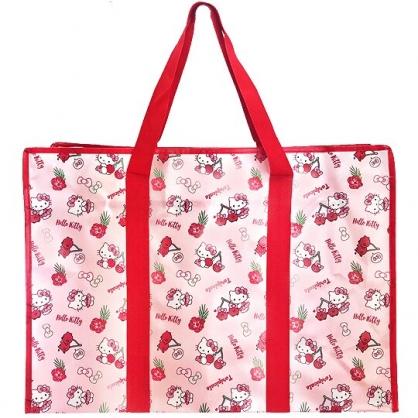 小禮堂 Hello Kitty 大型購物袋 防水 棉被袋 衣物收納袋 側背袋 (紅粉 櫻桃)