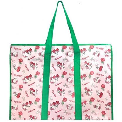小禮堂 Hello Kitty 大型購物袋 防水 棉被袋 衣物收納袋 側背袋 (綠粉 櫻桃)