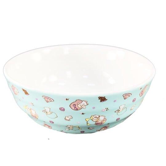小禮堂 雙子星KIKI 陶瓷碗 單耳 拉麵碗 泡麵碗 飯碗 湯碗 碗公 附蓋 (綠 大臉)