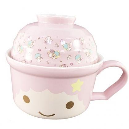 小禮堂 雙子星LALA 陶瓷碗 單耳 拉麵碗 泡麵碗 飯碗 湯碗 碗公 附蓋 (粉 大臉)
