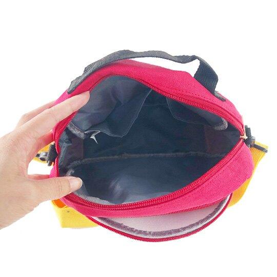 小禮堂 迪士尼 米奇 斜背包 帆布 雙層 手提包 側背包 隨身包 小方包 (黑 大臉)