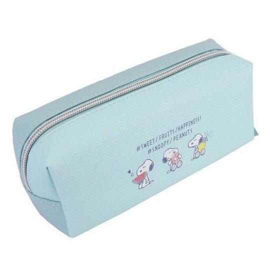 小禮堂 史努比 拉鍊筆袋 皮質 雙層 化妝包 收納包 鉛筆盒 (綠白 食物)