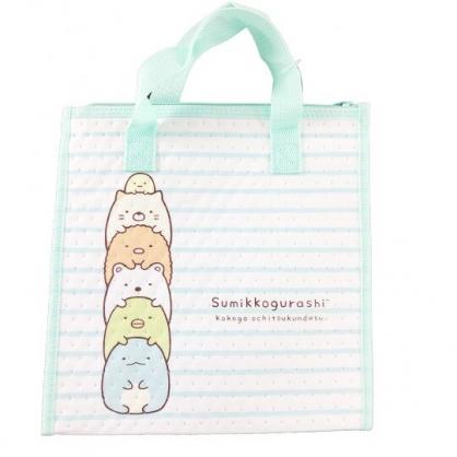 小禮堂 角落生物 手提袋 不織布 方形 便當袋 保冷袋 野餐袋 購物袋 (綠白 橫紋)