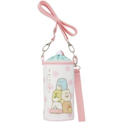 小禮堂 角落生物 水壺袋 水壺背袋 保冷 防水 環保杯袋 水瓶袋 500-600ml (粉白 點點)